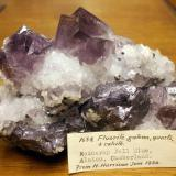 fluorite, galena and quartz Rotherhope Fell Mine, Alston Moor, Cumbria approximately 12 cm across. Specimen was collected from the Tynebottom flats circa 1930 and was acquired by Sir Arthur Russell. It is now with the rest of his collection in the Natural History Museum, London. (Author: Jesse Fisher)