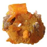 Wulfenite Rowley Mine, Theba, Painted Rock Mts, Maricopa Co., Arizona, USA Specimen size 3 cm, main wulfenite crystal 1,2 cm (Author: Tobi)