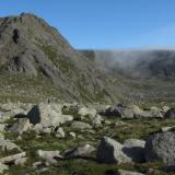 The East side of Ben a' Bhuird is fringed with precipitous cliffs and corries, formed during the last ice-age, resulting in lots of exposed granite rock. There are not many pegmatites to see around here though, and what you find in exposures tend to be thin and stringy. (Author: Mike Wood)