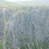 Back to the 'crystal cave'. I read about this in a climbing guide book. I spotted it from the top of Shelter Stone Crag - you can see it in this photo, dead centre but down a bit. I thought it would be worth a look! (Author: Mike Wood)