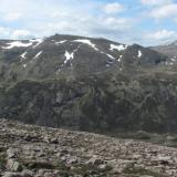 Beinn Mheadhoin from the East. Photo taken June 2012, from Beinn a' Chaorainn. (Author: Mike Wood)