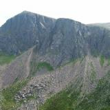 View of Carn Etchachan (1120m) and Shelter Stone Crag (just right of the highest point, between the two large scree fans) from the North, where the 'crystal cave ' is - more of this later. Photo taken July 2006. (Author: Mike Wood)