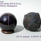 "Almandine ""Star Garnet"" Fanotaniana, Lake Alaotra, Madagascar. 2 other specimens (Author: Roger Warin)"