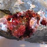 Rhodochrosite Main Silicate Orebody, Potosi Mine, Santa Eulalia, Chihuahua, Mexico vug is 6 x 5 cm Vug lined with 6 mm gemmy red rhodochrosite crystals (Author: Peter Megaw)