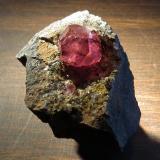 rhodochrosite Main Silicate Orebody, Potosi Mine, Santa Eulalia, Chihuahua, Mexico 4 cm overall, crystal is 1.5 cm Gemmy 1.5 cm rhodochrosite crystal. (Author: Peter Megaw)