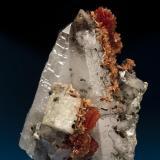 Inesite with Hubeite and pyrite on quartz with fluorapophyllite epitaxially coating calcite.  Fengjiashan Mine, Daye Co., Huangshi, Hubei, China 10.3 cm x 12.8 cm x 7.6 cm (Author: Gail)