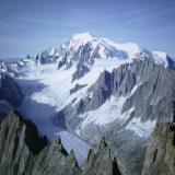 Another photo taken from ~ 4,000m on Aiguille Verte, showing the top of Aiguille du Moine and in the distance Mont-Blanc herself (4808m). Photo taken August 1992 - scanned from slide. (Author: Mike Wood)
