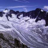 Glacier de Talèfre from Aiguille du Moine. Photo taken 1991. (Author: Mike Wood)