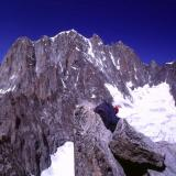 Looking towards Aigiulle Verte (south side) from the summit of Aiguille du Moine. Photo taken 1991. Scanned from slide. (Author: Mike Wood)