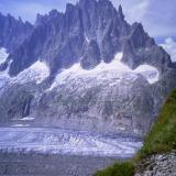 Just one more photo then - from the path down from the Courvercle Hut to the Mer de Glace, looking across to the 'Chamonix Aiguilles'. Photo scanned from slide. (Author: Mike Wood)