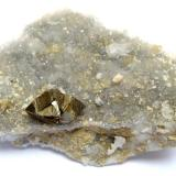 Chalcopyrite Georg Mine, Willroth, Altenkirchen, Wied Iron Spar District, Westerwald, Rhineland-Palatinate, Germany 7 x 4 cm, crystal 14 mm (Author: Tobi)