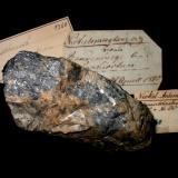 Ullmannite, siderite Bautenberg mine, Wilden, Siegerland, Northrhine-Westphalia, Germany 9 x 6 cm One of the specimens collected by J.C. Ullmann in 1810 with original handwritten label. (Author: Andreas Gerstenberg)