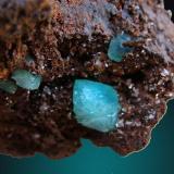 Adamita cuprífera Mina Ojuela, Mapimí, Durango, México 7.5 cm X 6.0 cm  X 5.0 cm. el cristal más grande  1.2 cm X .9 cm recolectado en el año 2008 (Autor: jesus salinas)