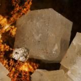 Fluorite & barite Laporte Minerals Openpit, Dirtlow Rake, Castleton, Derbyshire, England, UK Largest cube ~ 7 mm on edge (Author: Andy Lawton)