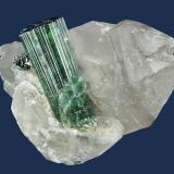 Elbaite on Quartz Barra do Salinas, Araçuaí Pegmatite District, Coronel Murta, Minas Gerais, Brazil 90 x 88 x 71 mm (Author: GneissWare)