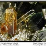 Vesuvianite Felskinn, Fee Glacier, Saas Fee, Saas Valley, Zermatt - Saas Fee area, Valais, Switzerland fov 3 mm (Author: ploum)