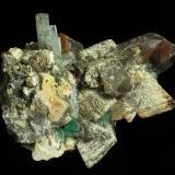 Beryl ( var. aquamarine ) with Quartz and Fluorite on Microcline Erongo Mts., Erongo Region, Namibia 119 x 97 x 90 mm (Author: GneissWare)