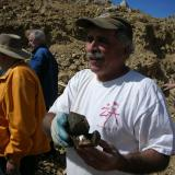 Paul Geffner holding likely the best specimen from Ronna's pocket & a significant quartz from Petersen Mtn.  Undamaged and not repaired! (Author: Tony L. Potucek)