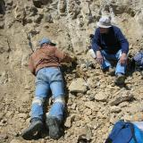 A prone Scott Werschky and John White tag teaming a pocket with quartz crystals. (Author: Tony L. Potucek)