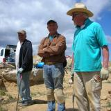 Paul Geffner, Scott Wershky and Noel Dedora on site conferring about the dig. (Author: Tony L. Potucek)