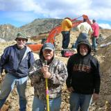 The motley crew of Tony Potucek, Ken Roberts, and Neil Prenn enjoying a brief respite during the quartz dig.  Photo by Scott Werschky. (Author: Tony L. Potucek)