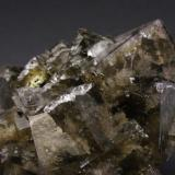 Fluorite, Siderite Greenlaws Mine, Daddry Shield, Weardale, North Pennines, Co. Durham, England, UK Main crystal is 4 x 4 cm Different color mix this time (Author: James)