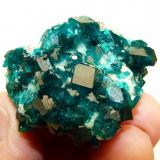 Dioptase on calcite. Tsumeb, Namibia 45 x 33 x 30 mm Same as above. (Author: Pierre Joubert)