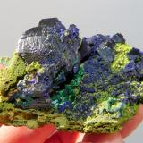 Azurite, malachite and duftite. Tsumeb, Namibia 59 x 38 x 33 mm Same as above. (Author: Pierre Joubert)