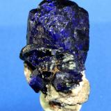 Azurite Milpillas Mine, Cuitaca, Mun. de Santa Cruz, Sonora, Mexico 4.0 x 3.1 cm (Author: Don Lum)