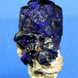 Azurite Milpillas Mine, Cuitaca, Mun. de Santa Cruz, Sonora, Mexico 4.0 x 3.1 cm (Author: Don Lum)