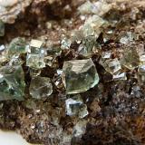 Fluorite Rogerley Mine, Frosterley, Weardale, England, UK 10.5 x 6 x 2.5cm. Fluorite (green). Weight 213 gr. close up (Author: captaincaveman)