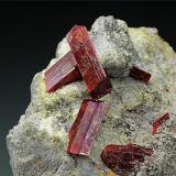Realgar<br />Baia Sprie Mine, Baia Sprie, Maramures, Romania<br />H: 6 cm x W: 5 cm x D: 4.5 cm; Largest Crystal: 1.<br /> (Author: Adrian Pripoae)