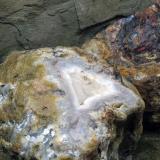 Quartz (var. agate)<br />Techereu Valley, Apuseni Mountains, Alba, Transylvania, Romania<br />Boulder 50-60 cm radius<br /> (Author: Adrian Pripoae)