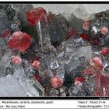 Wendwilsonite, quartz, erythriteDistrito Bou Azzer, Tazenakht, Provincia Ouarzazate, Región Souss-Massa-Draâ, Marruecos3.5 mm (Author: ploum)
