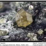 Andradite (var. topazolite)<br />Malenco Valley (Valmalenco), Sondrio Province, Lombardy, Italy<br />fov 6 mm<br /> (Author: ploum)