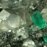 Beryl (variety emerald), Calcite, Pyrite<br />La Pita mining district, Cunas Mine, Municipio Maripí, Western Emerald Belt, Boyacá Department, Colombia<br />100x60x40mm<br /> (Author: Fiebre Verde)