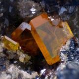 WulfenitaMinas Plaka, Plaka, Distrito minero Lavrion, Prefectura Attikí (Attica), GreciaCampo de visión 4,6 mm. (Autor: Juan Miguel)