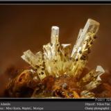 Adamite<br />Ojuela Mine, Mapimí, Municipio Mapimí, Durango, Mexico<br />fov 1,8 mm<br /> (Author: ploum)