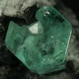 Beryl (variety emerald), Calcite<br />Muzo mining district, La Pava Mine, Quípama, Municipio Muzo, Western Emerald Belt, Boyacá Department, Colombia<br />Emerald crystal = 10mm<br /> (Author: Fiebre Verde)