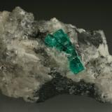 Beryl (variety emerald), Calcite, Pyrite, Quartz<br />La Pita mining district, Municipio Maripí, Western Emerald Belt, Boyacá Department, Colombia<br />60x35mm, main xl=16mm<br /> (Author: Fiebre Verde)