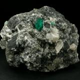 Beryl (variety emerald), Calcite, Pyrite, Dolomite<br />La Pita mining district, Municipio Maripí, Western Emerald Belt, Boyacá Department, Colombia<br />85x70x60mm<br /> (Author: Fiebre Verde)
