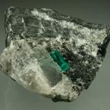 Beryl (variety emerald), Calcite, Pyrite<br />Coscuez mining district, Municipio San Pablo de Borbur, Western Emerald Belt, Boyacá Department, Colombia<br />43x38x50mm,  xl=11mm<br /> (Author: Fiebre Verde)