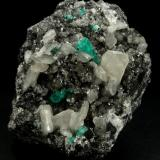 Beryl (variety emerald), Calcite, Pyrite<br />Coscuez mining district, Municipio San Pablo de Borbur, Western Emerald Belt, Boyacá Department, Colombia<br />95x75x75mm, xl=15mm<br /> (Author: Fiebre Verde)