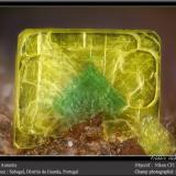 Autunite<br />Sabugal, Guarda District, Centro Region, Portugal<br />fov 1.8 mm<br /> (Author: ploum)