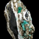 Beryl (variety emerald), Calcite, Pyrite<br />Chivor mining district, Municipio Chivor, Eastern Emerald Belt, Boyacá Department, Colombia<br />102x36x87mm, xl=13mm<br /> (Author: Fiebre Verde)