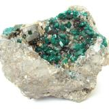 Dioptase, calcite<br />Altyn-Tyube deposit, Altyn-Tyube area, Kirghiz Steppes, Karagandy Province, Kazakhstan<br />Specimen size 8 cm<br /> (Author: Tobi)