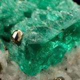 Beryl (variety emerald), Calcite, Pyrite<br />Chivor mining district, Municipio Chivor, Eastern Emerald Belt, Boyacá Department, Colombia<br />29x18x39mm, xl=24mm<br /> (Author: Fiebre Verde)