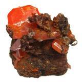 WulfeniteMina Red Cloud, Montes Trigo, Distrito Silver, Condado La Paz  , Arizona, USASpecimen size 3 cm, largest crystal 1,8 cm (Author: Tobi)