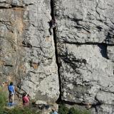 _Las Areniscas del Aljibe son una formación bastante monótona, sin grandes cambios litológicos. Corresponden a lóbulos deposicionales de un abanico submarino, sedimentados en situación de inestabilidad tectónica. La composición silícea y la redondez de los granos indican un transporte largo con un origen que las marcas de paleocorriente sitúan al Sur, probablemente los macizos pre-hercínicos del Sahara. Donde está bien cementada, es una buena roca para escalar que ofrece bastantes apoyos. Pared de escuela en Betis, Tarifa, Cádiz. (Autor: Josele)