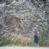 Pizarra con abundantes vetas de cuarzo muy replegados (pliegues ptigmáticos) Paleozoico de la Serralada Prelitoral. Carretera a La Puda, Esparreguera, Baix Llobregat, Barcelona, Catalunya, España. (Autor: Frederic Varela)